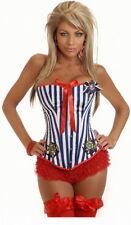 BLUE WHITE RED SEXY SAILOR FANCY DRESS CORSET BASQUE  S M L XL