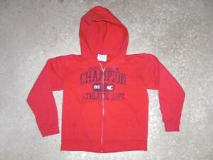 CHAMPION red full zip front Hoodie sweatshirt youth Small