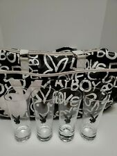 Vintage Playboy Weekend Duffel Tote Bag Retro Playboy Bunny Bag+ Glass Set Of 4