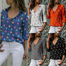 Womens Button Up Long Sleeve T Shirt Summer Casual Blouse OL Work Tops Plus Size