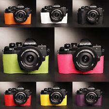 Genuine Real Leather Half Camera Case Bag Cover for Olympus OM-D EM10 II 8 color
