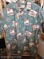 Vintage Hawaiian Shirt Green Woodies Outrigers Coco Buttons Hilo Hattie Mens 2XL