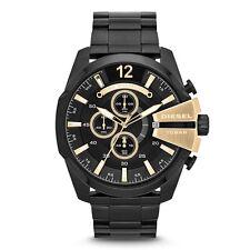 DIESEL Uhr DZ4338 MEGA CHIEF Herren Chronograph Edelstahl Schwarz Armbanduhr NEU