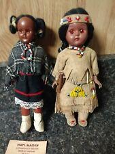 Vintage Plastic Native American Indian Doll Sleepy Eyes Hopi leather papoose