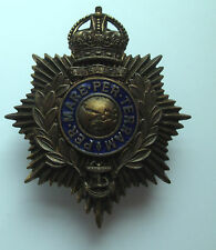 Royal Marines:  Officers Helmet Plate 1923-1953 . Kings Crown Gilt and Enamel