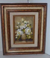 Vintage Oil Painting Rose Flower Signed K Hebart Framed