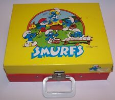 Vintage 1982 Smurfs Portable Record Player Turntable by Vanity Fair Kidde Inc.
