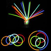 10xPlastic Glow Sticks Bracelets Necklaces Neon Colours Party Favors Rave Disco