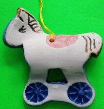 POTTERY ROCKING HORSE CHRISTMAS ORNAMENT