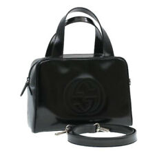 GUCCI Inter Locking Patent Leather 2Way Shoulder Hand Bag Black Auth rd870 *Stic