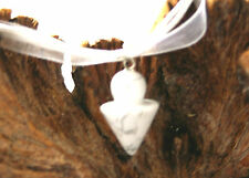 White howlite agate gemstone pendulum pendant on white cord & organza necklace