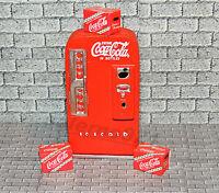 VINTAGE SODA MACHINE with three Red Coca-Cola Cases 1:24(G)SCALE DIORAMA