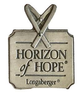 Longaberger Basket Pin Horizon Of Hope Lapel Pin Cancer Awarenes SilverTone A620