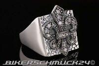 925 Silberring zahlreiche Zirkonia Ring Ritterlilie Lilie Fleur des Lis Geschenk
