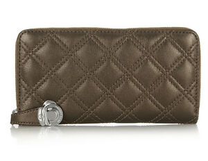 NWT MARC JACOBS The Deluxe Quilting Lambskin leather Zip Wallet Pearl Bronze NEW