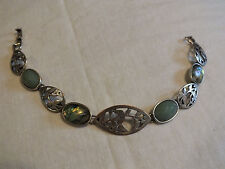 Beautiful Clasp Bracelet Silver Tone Green Faceted Cabochons 7 1/2 x 5/8 CUTE
