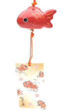 Japanese Furin Wind Chime Kingyou Red Fish Goldfish Porcelain Made in Japan