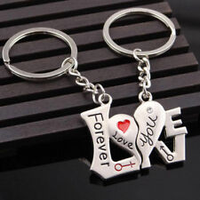 Hot sale 2pcs Pair Lover Couple Keychains Love You Forever Heart Word keyring