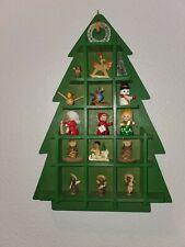 Wood shadow box Memory Tree Christmas miniature ornaments vintage