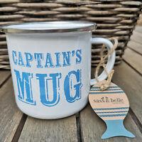 Captain´s Mug Emaille Tasse 370ml Metall Kaffeebecher Maritim Kaffeetasse Alu