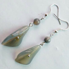 QSAM3782 Beautiful Pair of Carved Grey agate Morning glory Dangle earring
