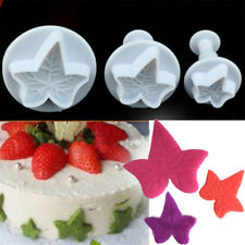 Cake Decorating Tool 3pcs IVY LEAF Plunger Chocolate Biscuit Cutter Plastic Mold