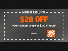 Home Depot $20 OFF $200 Coupon ONLINE USE ONLY -Fast-Delivery--