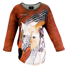 Laurel Burch Horses Moroccan Mares T Shirt 3/4 Sleeve Polyester Medium New