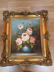 Oil Painting Still Life Flowers Signed Original Art Gold Frame Signed Toma Foma