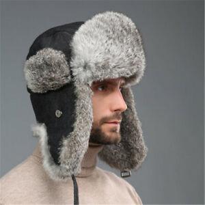 Unisex Real Rabbit Fur Hat Russia Trapper Earflap Cap Snowboard Earflap Ushanka