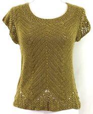 JONES WEAR womens sweater MEDIUM green crochet lace short sleeves (H661)