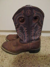 TONY LAMA SQUARE TOE LEATHER WESTERN Brown BOOTS Sz 3 D KID's EC!