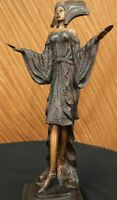 Hand Made bronze sculpture Art France Erotic Model Girl Dancer WomanUG