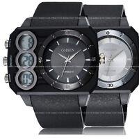 OHSEN Mens Date Military Army Digital Analog Sport Wrist Watch Waterproof Rubber