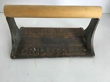 Vintage cast iron Home Town Grill Press wood handle