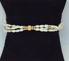 "14k Yellow Gold Clasp 3 Strand Freshwater Pearl Bracelet 8"""
