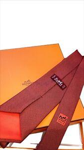 Hermès Men's Red silk tie with Abstract H pattern throughout- Hermes Necktie&Box