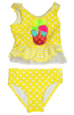 Flapdoodles Infant Girls 2 Piece Swimsuit Lemon Tonic 12 Month Pineapple New