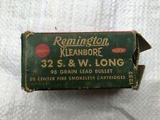 Vintage RemingtonKleanbore 32 S&W Long 98 gr. bullet 50 Cartridges empty box