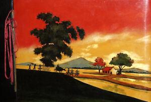 Vintage Asian hand painted lacquer wood photo album landscape