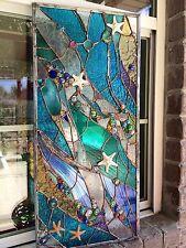💥Stained Glass Starfish Transom Window  Ocean Panel Nautical OOAK