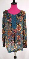 Ann Taylor Loft Tunic Plus Size 2X Womens Green Floral Sheer Long Sleeve