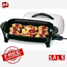 SKILLET ELECTRIC FRYING PAN Home Kitchen Countertop Fry Cooking Non Stick Coated