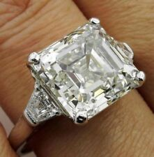 5.53 Ct Near White Asscher Cut Moissanite Engagement Ring 10K White Gold