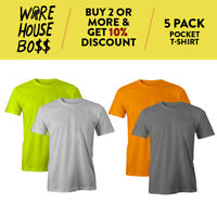 5 PACK PROUSA MENS PLAIN POCKET T SHIRT CASUAL HEAVYWEIGHT SHORT SLEEVE TEE