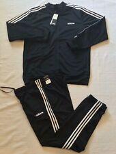Men's Adidas DV2448 Black 3-Stripe Tracksuit Pant & Jacket Set Sz S,M,L,XL,2XL