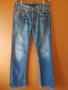 True Religion Mens Bobby Super T blue faded jeans sz 34/33 or W47cm vgc