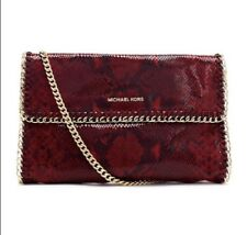 Michael Kors Red Chelsea Python Embossed Oversized Clutch