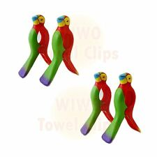 WIWO 2 Pairs of Towel Clips - 2x RED Parrot