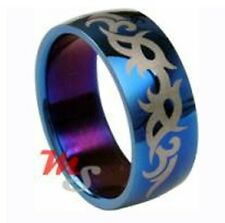 Tribal Cobalt Blue Stainless Steel Ring Size 11